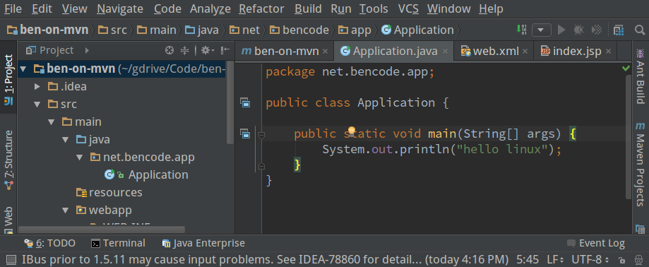 IntelliJ running on Fedora 22 and tuxjdk