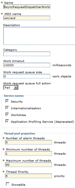 Available Work Manager configuration options